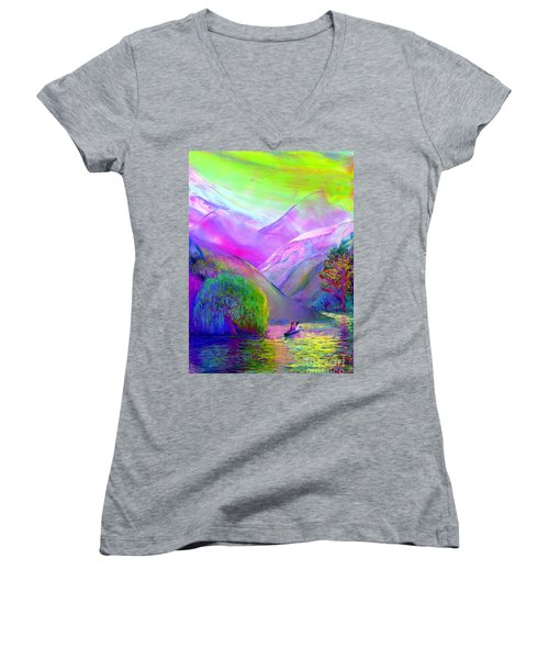 Love Is Following The Flow Together Women's V-Neck T-Shirt (Junior Cut) by Jane Small