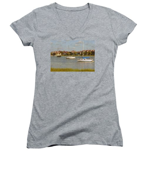 Folly Beach Boats Women's V-Neck (Athletic Fit)