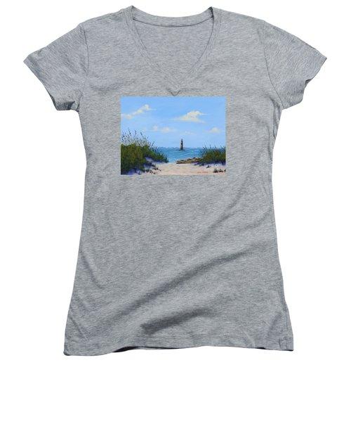 Folly Beach Lighthouse Women's V-Neck T-Shirt
