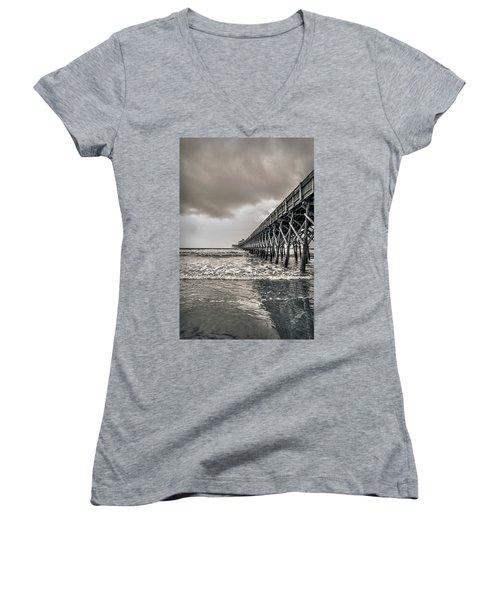 Women's V-Neck T-Shirt (Junior Cut) featuring the photograph Folly Beach Pier by Sennie Pierson