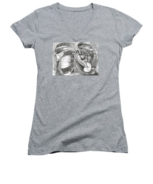 Women's V-Neck T-Shirt (Junior Cut) featuring the drawing Fomorii Aliens by Otto Rapp