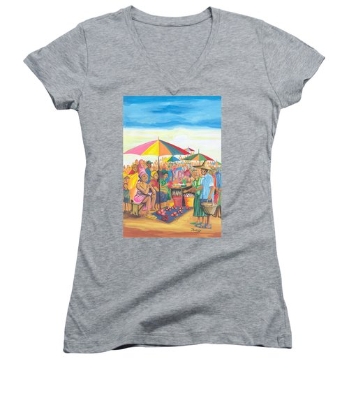 Food Market In Cameroon Women's V-Neck T-Shirt (Junior Cut) by Emmanuel Baliyanga