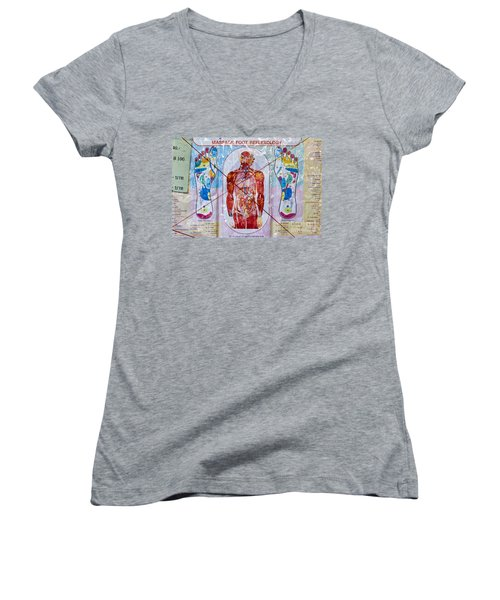 Foot Massage Women's V-Neck T-Shirt