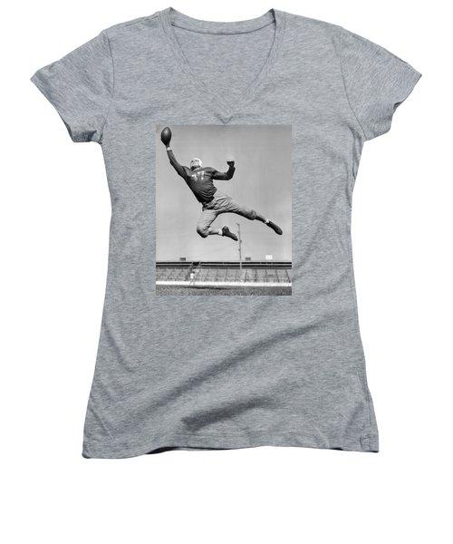 Football Player Catching Pass Women's V-Neck