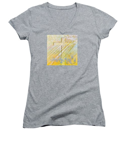 For The Cross Women's V-Neck T-Shirt (Junior Cut) by Cassie Sears