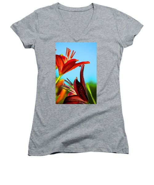 For The Love Of Lillies Women's V-Neck