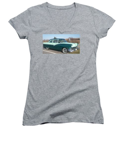 Ford Mercury Women's V-Neck T-Shirt (Junior Cut) by Eric  Schiabor