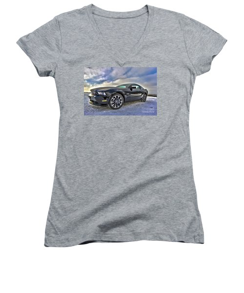 Women's V-Neck T-Shirt (Junior Cut) featuring the photograph ford mustang car HDR by Paul Fearn