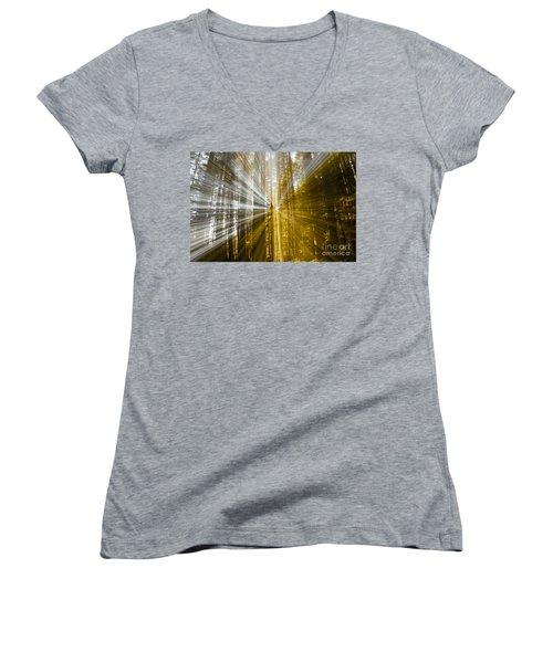 Forest Abstract Women's V-Neck T-Shirt (Junior Cut) by Vivian Christopher