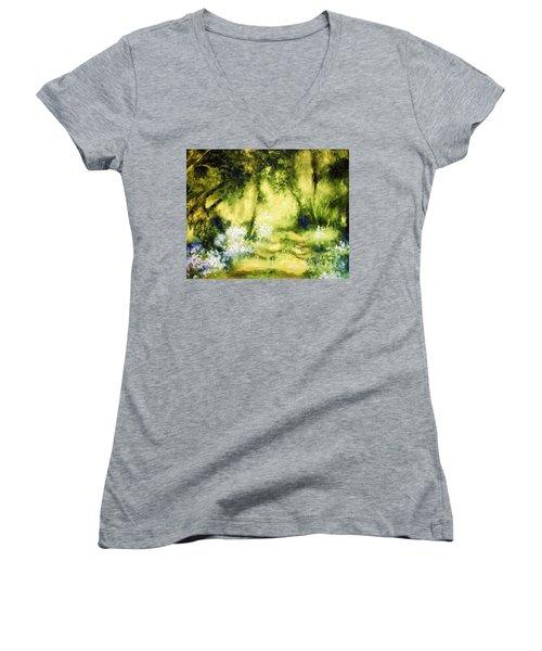 Forest Bluebells Women's V-Neck T-Shirt