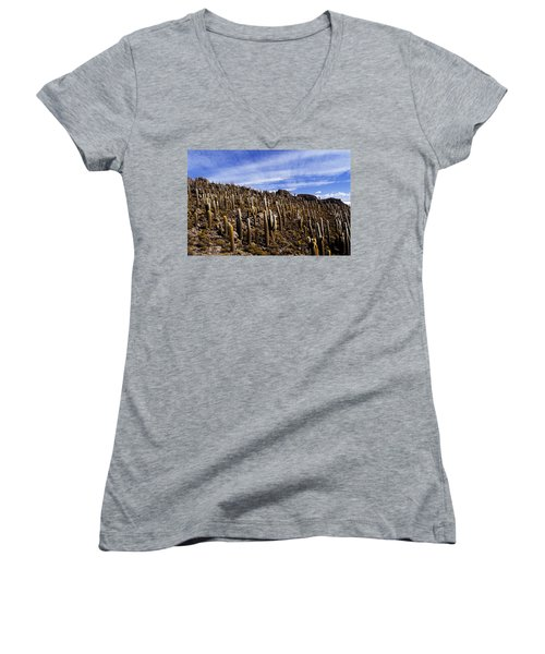 Women's V-Neck T-Shirt (Junior Cut) featuring the photograph Forest Of Cacti by Lana Enderle