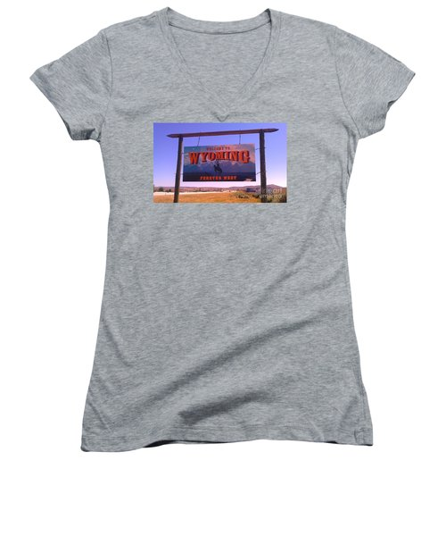 Women's V-Neck T-Shirt (Junior Cut) featuring the photograph Forever West by Chris Tarpening