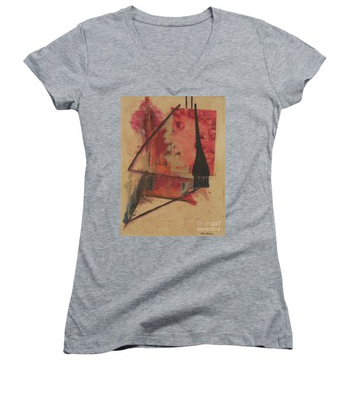 Women's V-Neck T-Shirt (Junior Cut) featuring the painting Forgive My Tears by Mini Arora