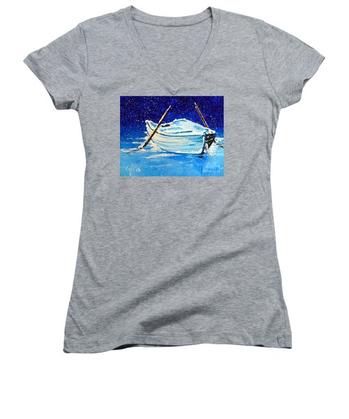 Women's V-Neck T-Shirt (Junior Cut) featuring the painting Forgotten Rowboat by Jackie Carpenter