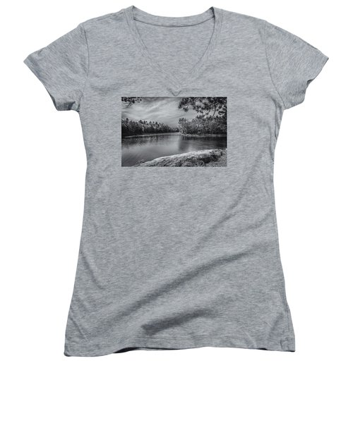 Women's V-Neck T-Shirt (Junior Cut) featuring the photograph Fork In River Bw by Mark Myhaver