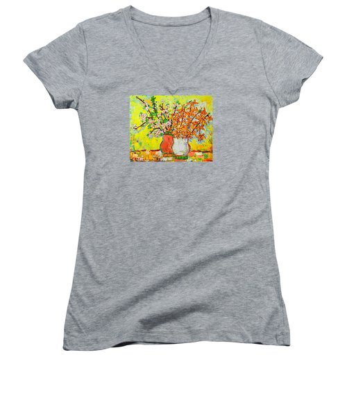 Forsythia And Cherry Blossoms Spring Flowers Women's V-Neck (Athletic Fit)