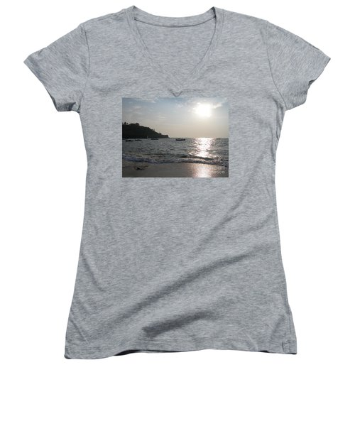 Women's V-Neck T-Shirt (Junior Cut) featuring the photograph Fort Aguada Beach by Mini Arora