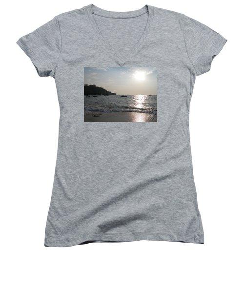 Fort Aguada Beach Women's V-Neck T-Shirt (Junior Cut) by Mini Arora