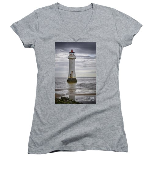 Fort Perch Lighthouse Women's V-Neck (Athletic Fit)