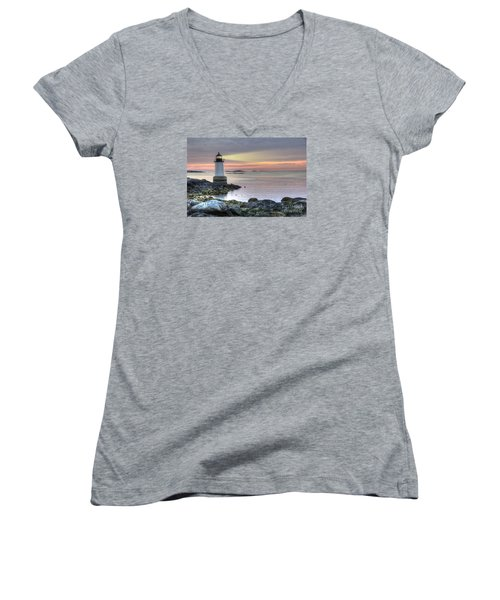 Fort Pickering Lighthouse At Sunrise Women's V-Neck T-Shirt (Junior Cut) by Juli Scalzi