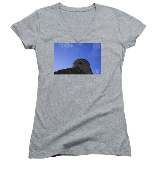 Women's V-Neck T-Shirt (Junior Cut) featuring the pyrography Fort Tower by Chris Thomas