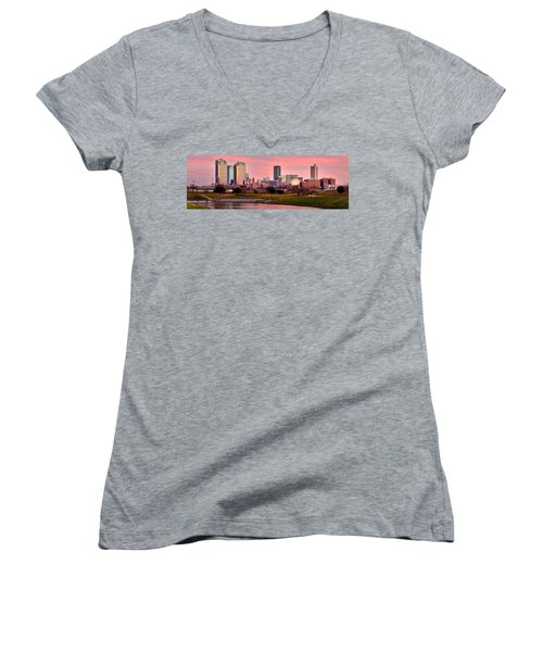 Women's V-Neck T-Shirt (Junior Cut) featuring the photograph Fort Worth Skyline At Dusk Evening Color Evening Panorama Ft Worth Texas  by Jon Holiday