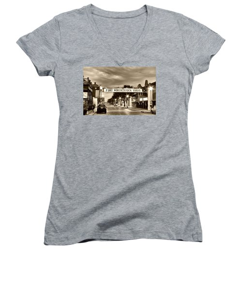 Fort Worth Stock Yards In Sepia Women's V-Neck T-Shirt (Junior Cut)