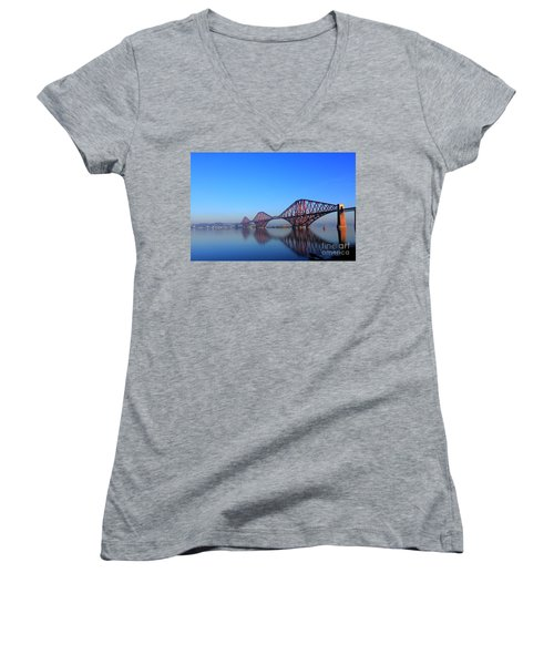 Women's V-Neck T-Shirt (Junior Cut) featuring the photograph Forth Rail Bridge by David Grant