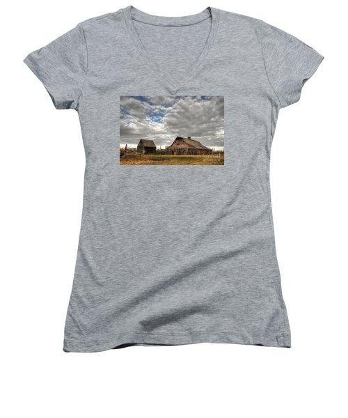 Found On The Prairies Women's V-Neck T-Shirt (Junior Cut) by Vivian Christopher