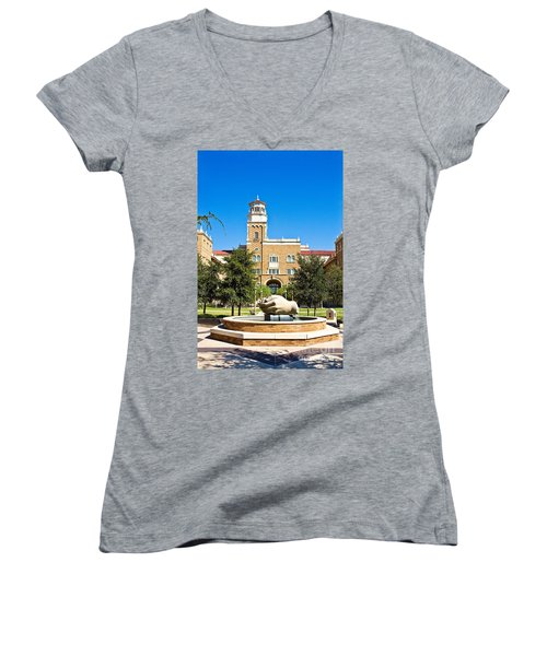 Women's V-Neck featuring the photograph Fountain Of Knowledge by Mae Wertz