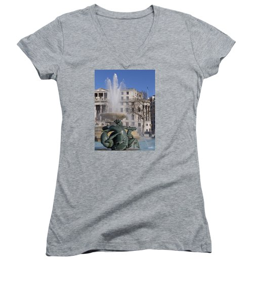 Fountains In Trafalgar Square Women's V-Neck (Athletic Fit)