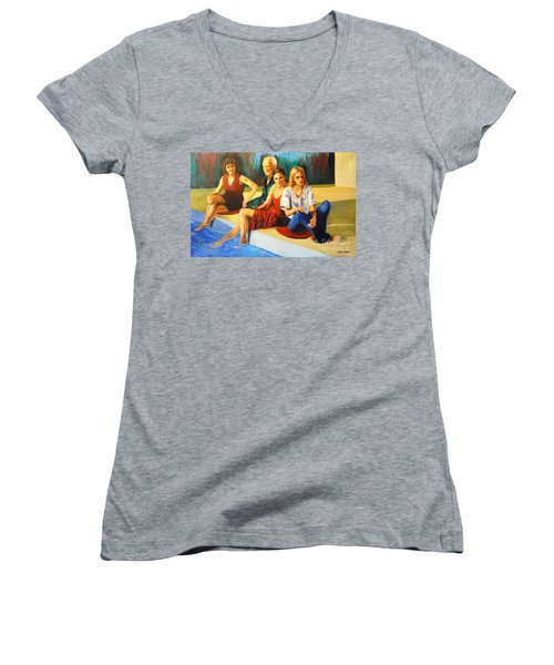 Four At A  Pool Women's V-Neck