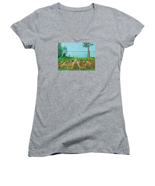 Women's V-Neck T-Shirt (Junior Cut) featuring the painting Four Chairs by Jeanne Fischer