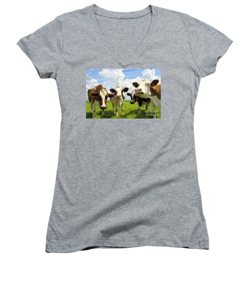 Four Chatting Cows Women's V-Neck (Athletic Fit)