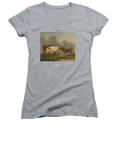 Four Cows In A Meadow Women's V-Neck