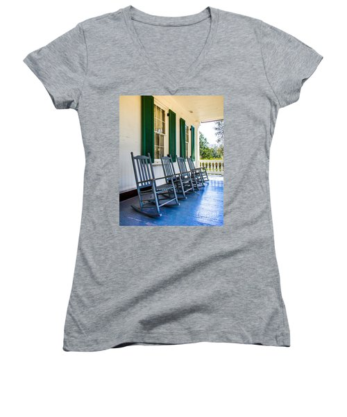 Four Porch Rockers Women's V-Neck T-Shirt (Junior Cut) by Perry Webster