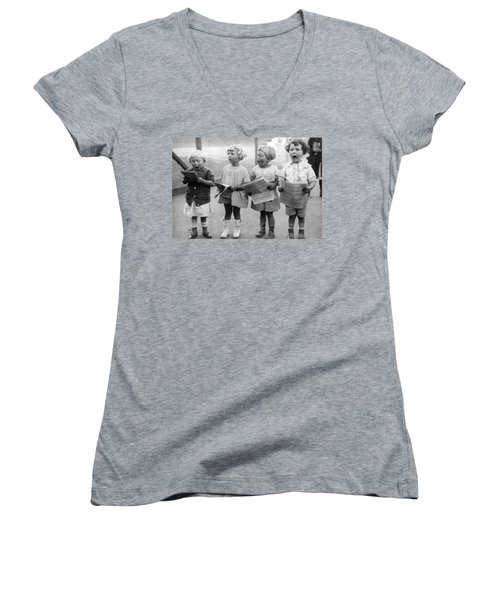 Four Young Children Singing Women's V-Neck