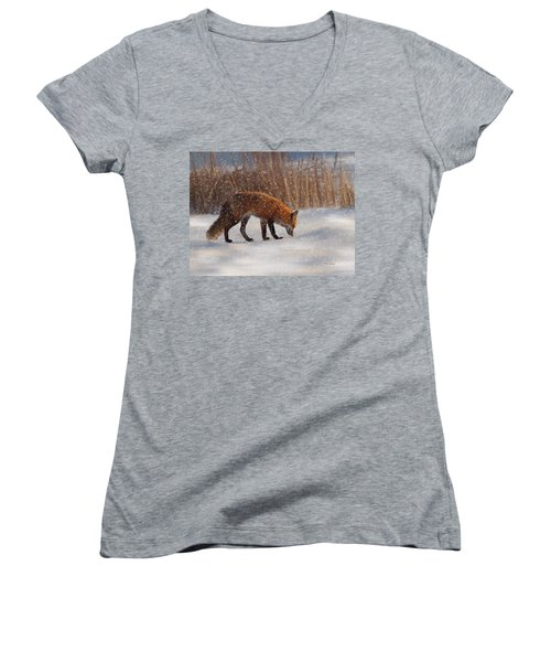 Fox In The Snow Women's V-Neck (Athletic Fit)