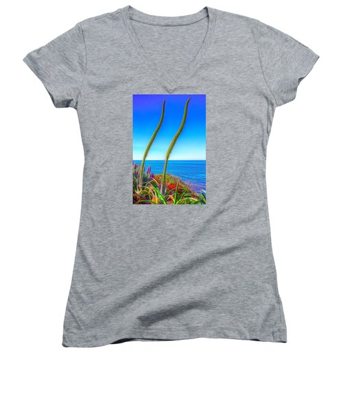 Foxtails On The Pacific Women's V-Neck T-Shirt (Junior Cut) by Jim Carrell