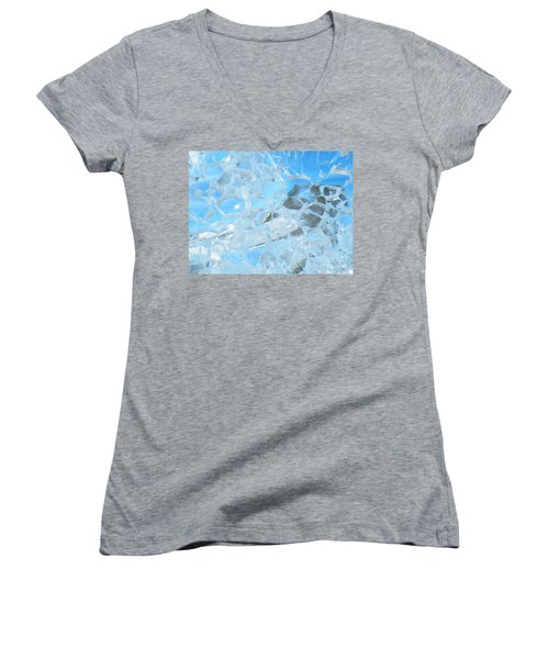 Women's V-Neck T-Shirt (Junior Cut) featuring the photograph Fracked  by Brian Boyle