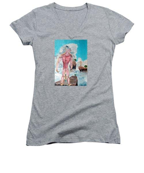 Fragiles Colossus Women's V-Neck T-Shirt (Junior Cut) by Lazaro Hurtado