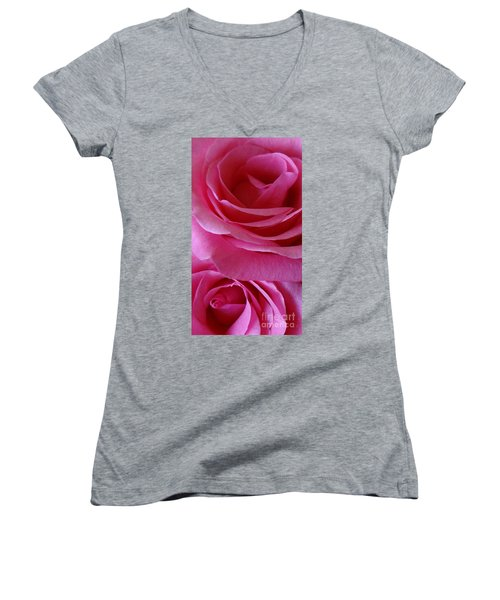 Face Of Roses 3 Women's V-Neck T-Shirt (Junior Cut) by Gem S Visionary