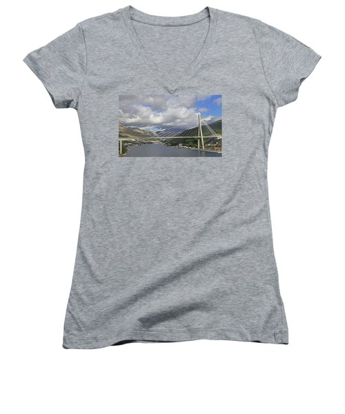 Franjo Tudman Bridge Women's V-Neck T-Shirt (Junior Cut) by Tony Murtagh