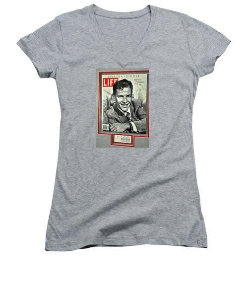 Frank Sinatra Life Cover Women's V-Neck T-Shirt (Junior Cut) by Jay Milo