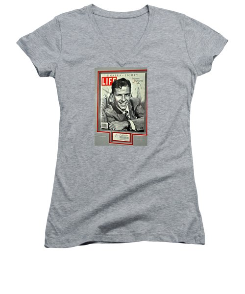 Frank Sinatra Life Cover Women's V-Neck (Athletic Fit)
