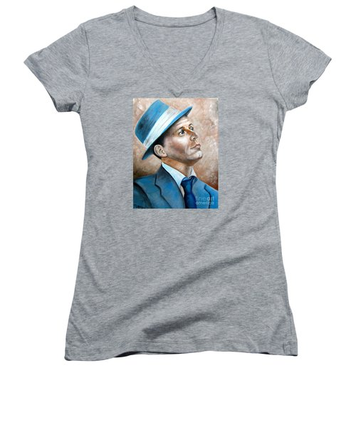 Women's V-Neck T-Shirt (Junior Cut) featuring the painting Frank Sinatra Ol Blue Eyes by Patrice Torrillo