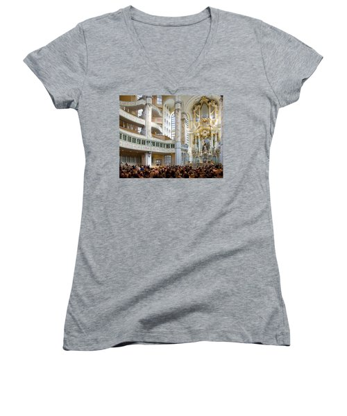 Frauenkirche Women's V-Neck T-Shirt (Junior Cut) by William Beuther