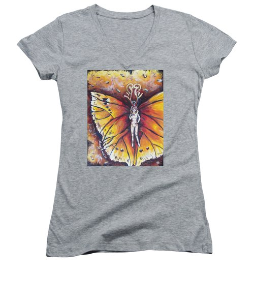 Free As The Flame Women's V-Neck T-Shirt (Junior Cut) by Shana Rowe Jackson