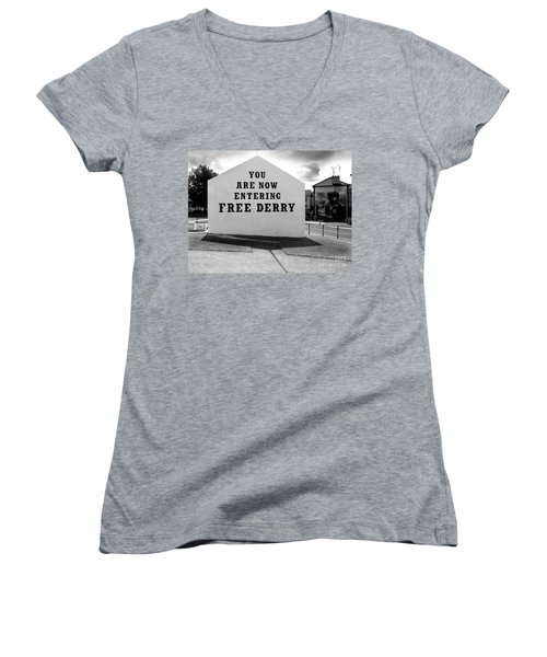 Free Derry Corner Women's V-Neck T-Shirt (Junior Cut) by Nina Ficur Feenan