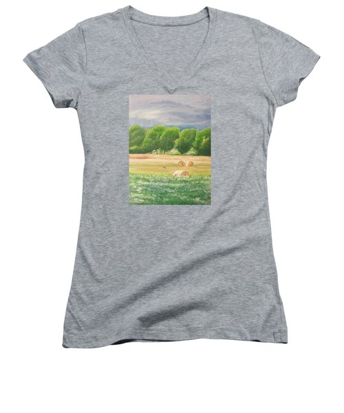 Women's V-Neck T-Shirt (Junior Cut) featuring the painting Freedom by Jane  See